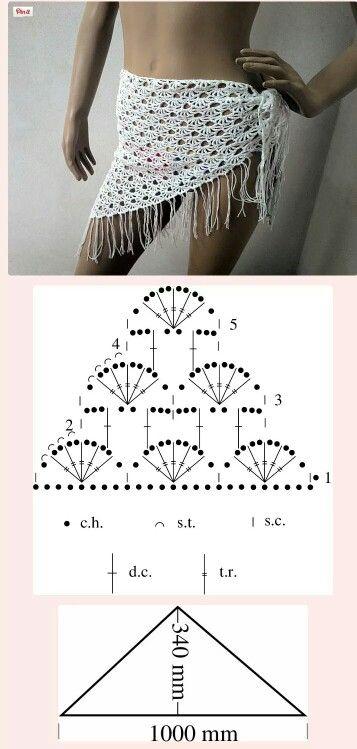 Pareo O Bandana Uncinetto Crochet Scarves Bandana E Crochet Clothes