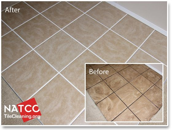 Before And After Picture Of Steam Cleaning Tile And Grout Clean