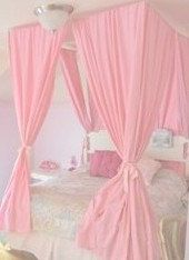 Pink Princess Bed Canopy Four Post Curtains Bedroom Decor Gift