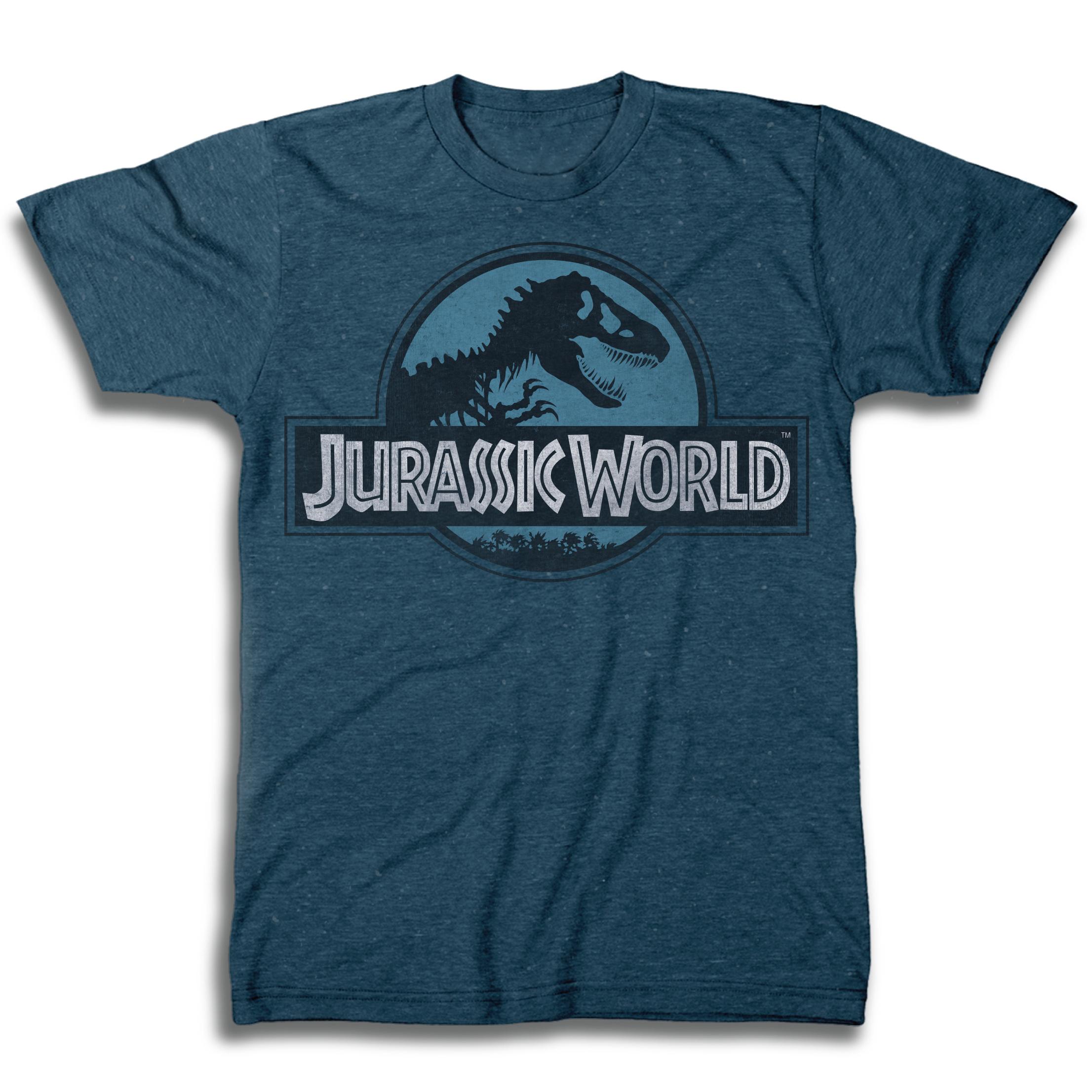 e86bbb4a68 Jurassic World Logo Blue Short Sleeve Men s T-Shirt - TshirtMall.com ...