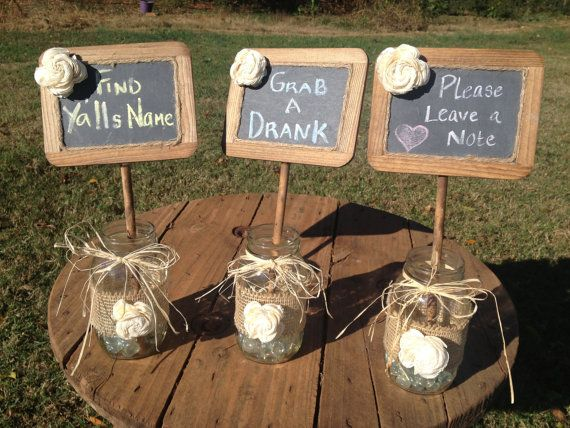 Shabby Chic Rustic Chalkboards In Mason Jar   Rustic Wedding Decor   Set Of  3