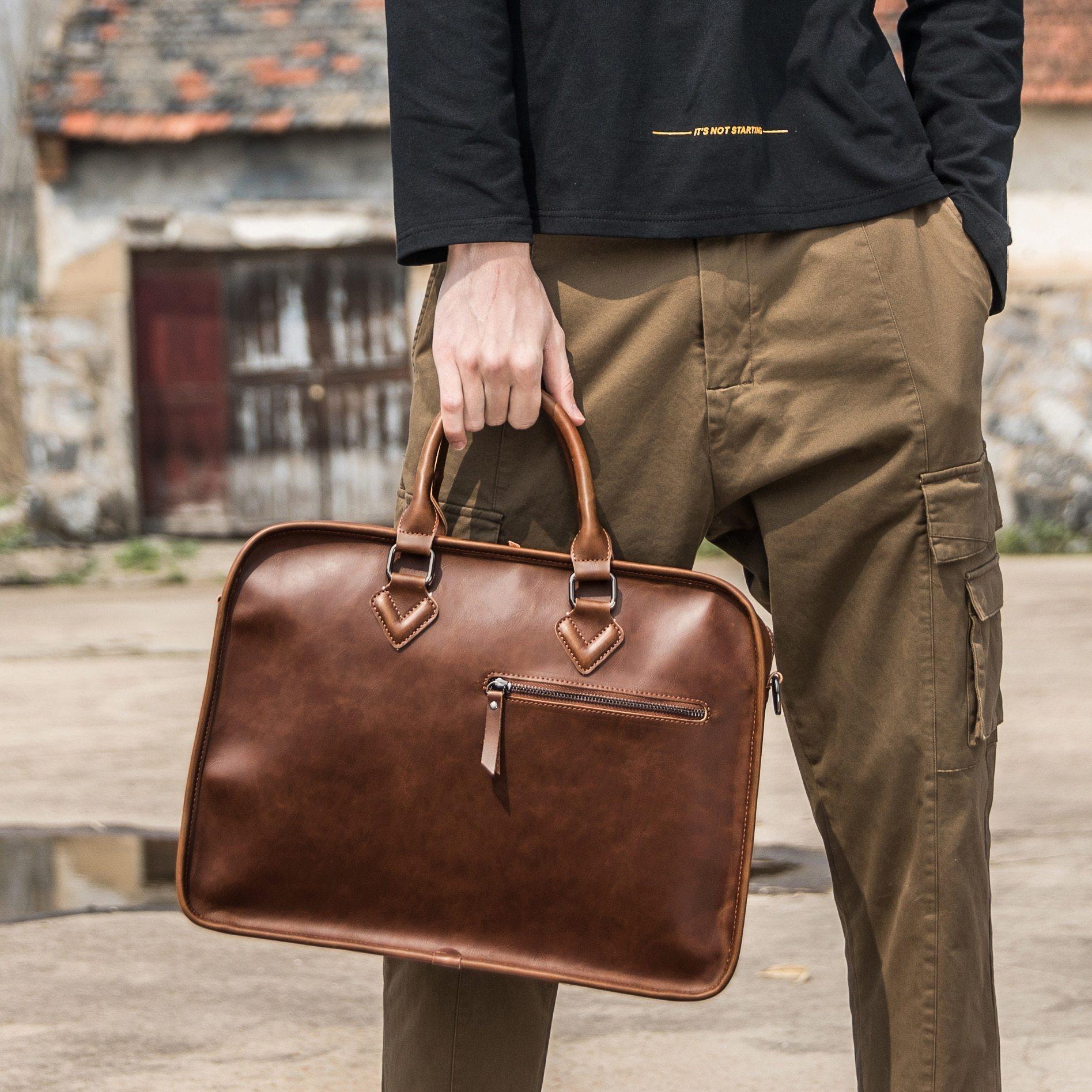Men Briefcase Vintage 14 Inch Big Business Laptop Handbag Fashion Brown Messenger Shoulder Bag Man Briefcase For Men Leather Business Bag Man Bag