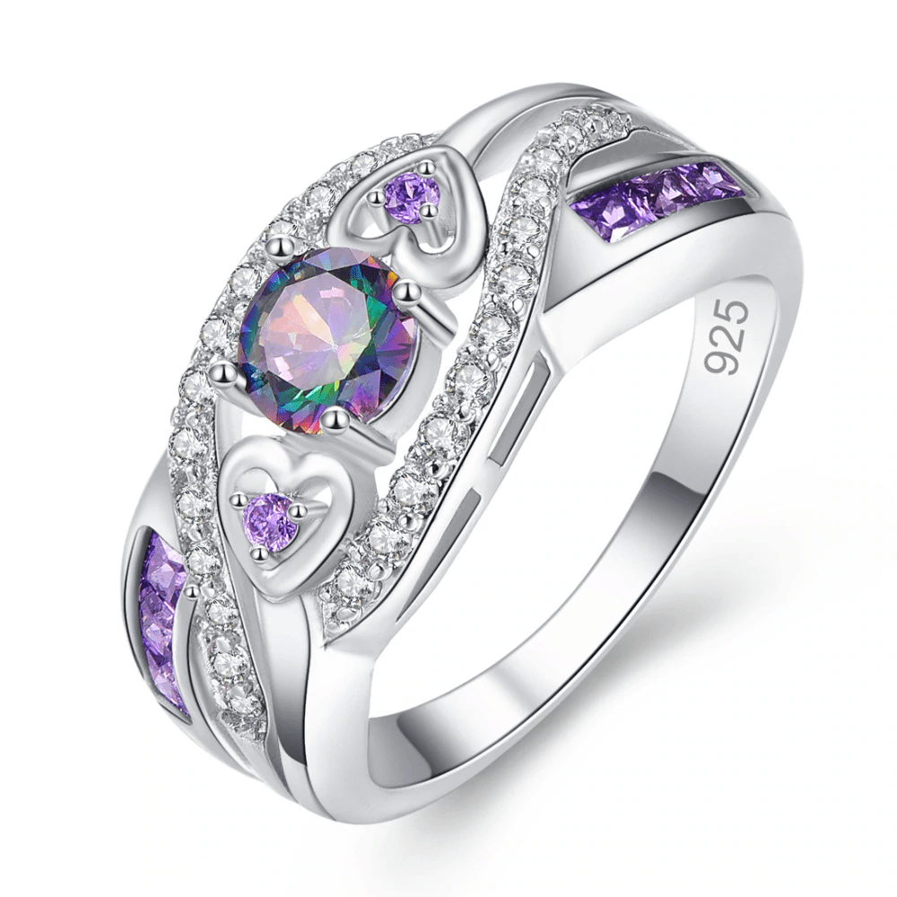 Sterling Silver Multi-color Gemstone and Diamond Accent Halo Ring