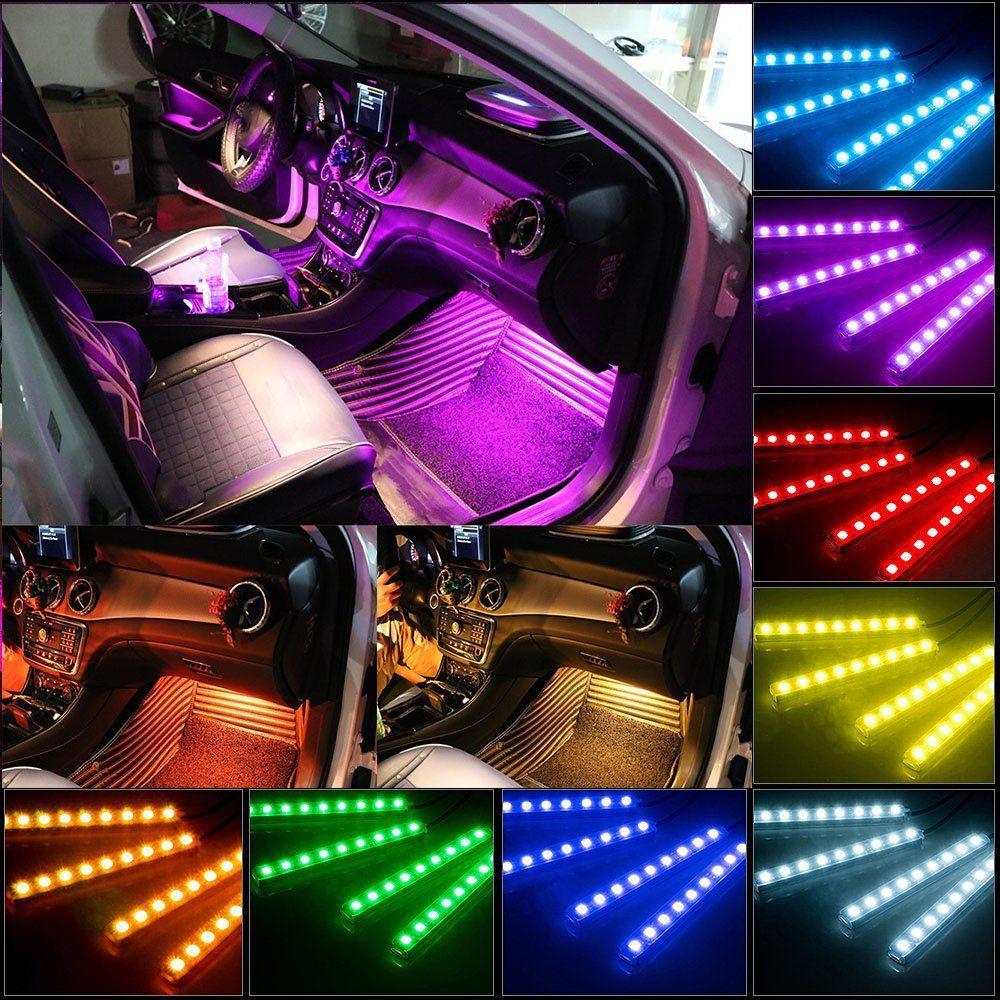 Yaphtes car led strip lights 4pcs 48 led multicolor with sound yaphtes car led strip lights 4pcs 48 led multicolor with sound active function and waterproof wireless aloadofball Image collections