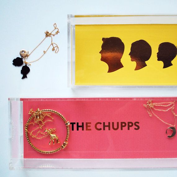 Gold Foil Lucite Tray Family Name Tray Hostess by LePapierStudio