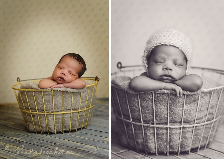 Newborn baby in an old egg basket how perfect is that