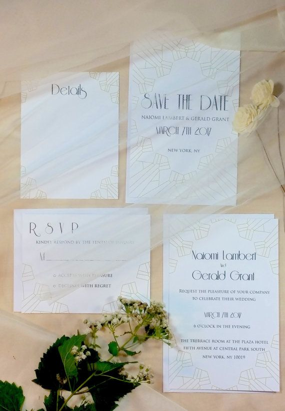 Modern Vintage wedding invitationWhite white and gold art Unique