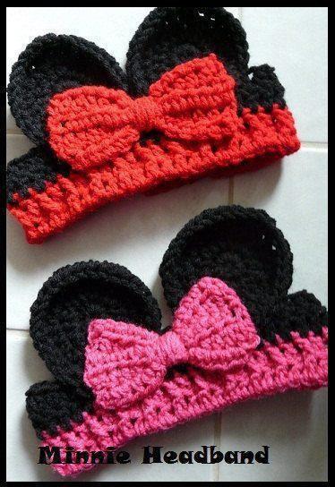 Crochet Minnie Ears | Baby Mütze | Pinterest | Stirnband, Häkeln und ...