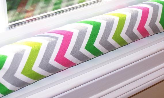 Window or DOOR DRAFT STOPPER Snake Premier Prints Designer Home Decor Candy Pink & White Chevron Zig