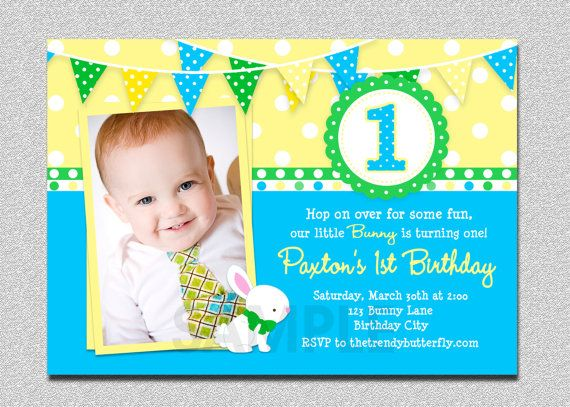 Boys Easter Themed First Photo Birthday Invitation First