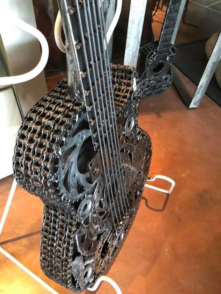 solar energy offgridpower Steampunk guitar, Guitar art