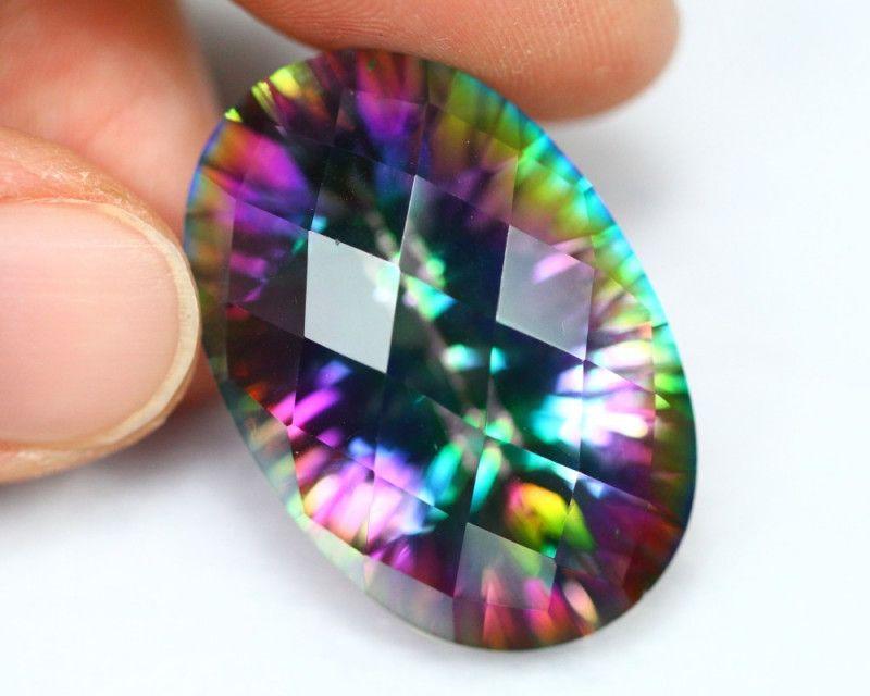 Gorgeous Natural Shiny Rainbow Mystical Topaz Gems Silver Gems Necklace Pendant
