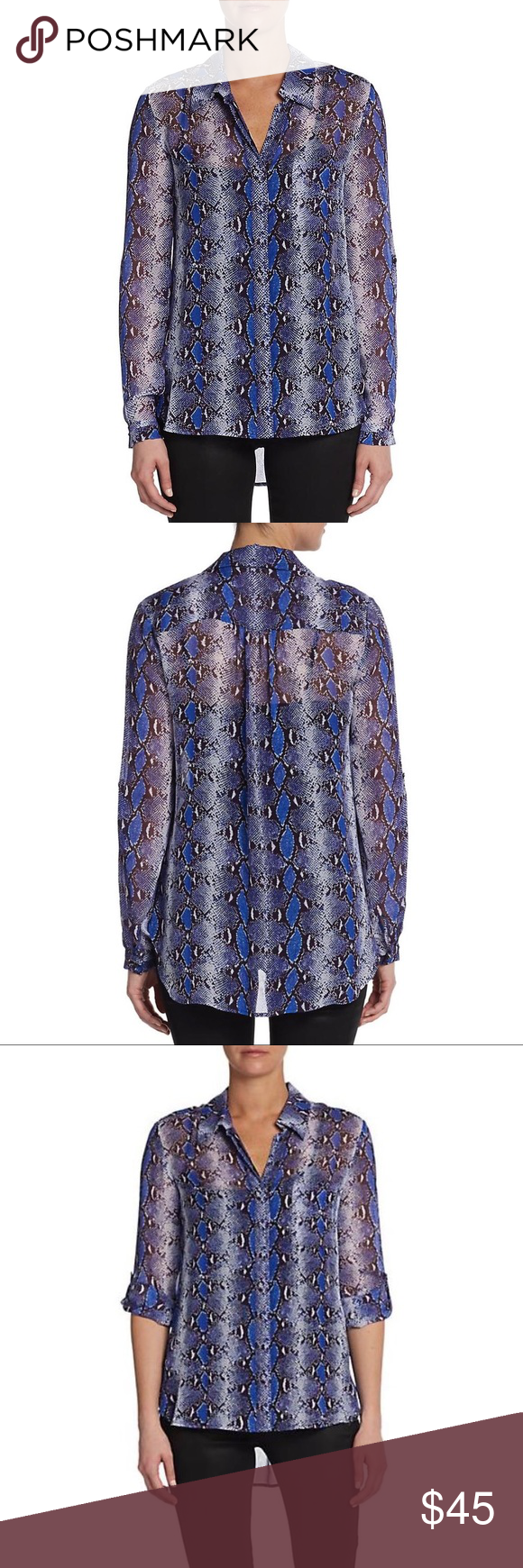 315b145b01624c DVF - Lorelei Snake Silk Long Sleeve Blouse 10   M DIANE VON FURSTENBERG  Blue Python Print  Lorelei  Button Up Long Sleeve Sheer Silk Blouse Size 10  ...