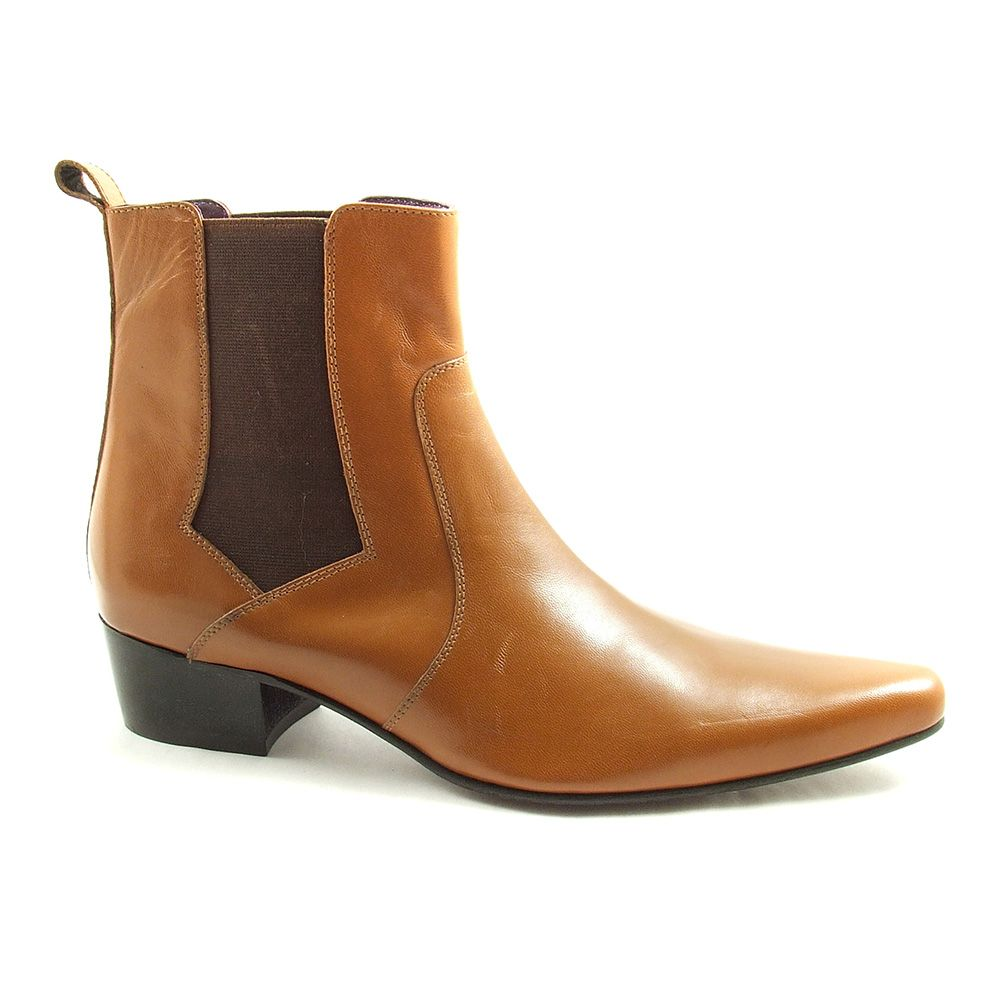 f048a53bdc71 Mens tan cuban heel chelsea boots which will give a couple of inches in  height and bags of style. Designed by Gucinari   made in fine leather. Free  del