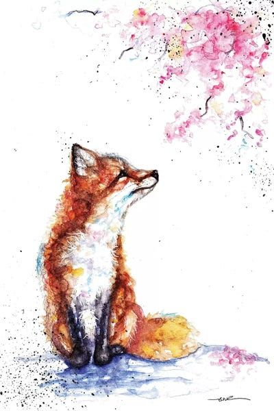 Fox And Blossom - Canvas Print