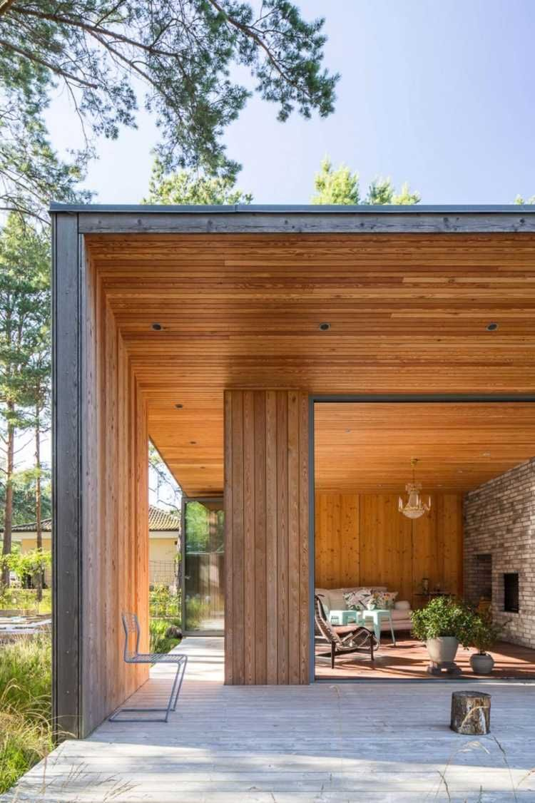 bardage en bois ext rieur et int rieur d 39 une villa en su de lambris tavaillons chaux rooms. Black Bedroom Furniture Sets. Home Design Ideas