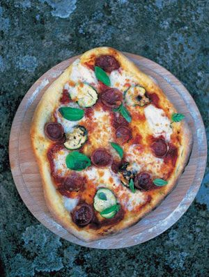Spicy salami, courgette, basil, tomato & mozzarella pizza topping  By Jamie Oliver