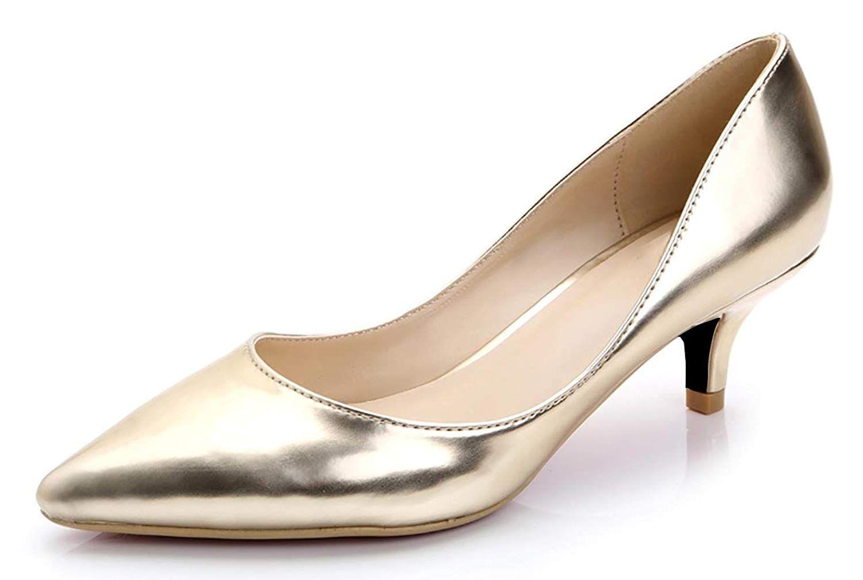 Camssoo Kitten Heels For Women Classic Slip On Pointed Toe Dress Pumps Shoes Women Low Heel Shoes Womens High Heels Kitten Heel Shoes
