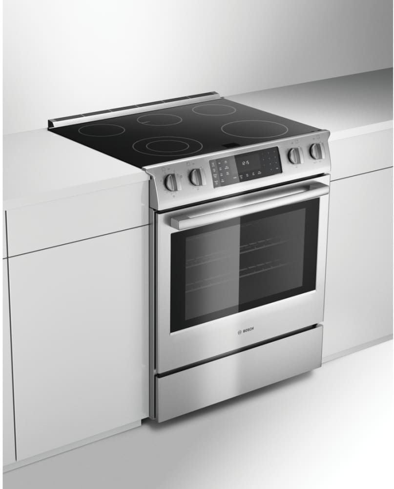 Bosch Hei8054u 30 Inch Slide In Electric Range With True Convection Warming Drawer Self Cleaning Mode 5 Smoot Slide In Range Induction Range Induction Stove