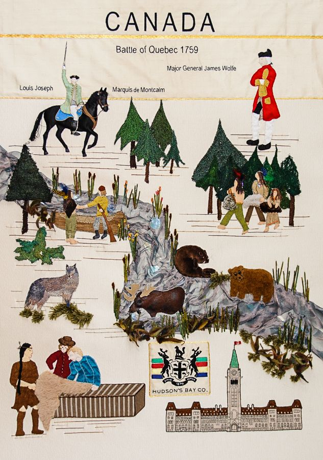 The Canada Magna Carta Embroidery panel shows the magnificent wild life and tells the story of Hudson Bay Company and the Battle of Quebec.