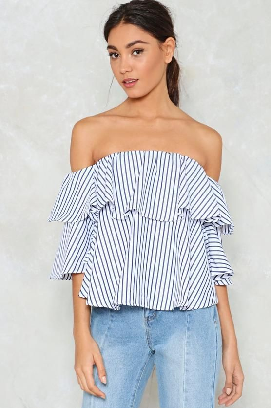 e66a493eb834 Play Your Cards Stripe Off-the-Shoulder Top
