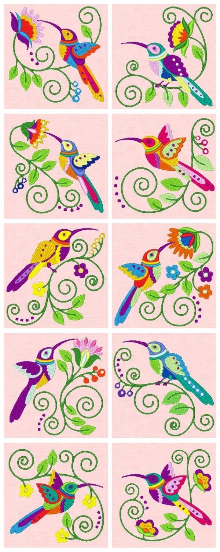 Embroidered Jacobean Hummingbirds   Bordado   Pinterest   Bordado ...
