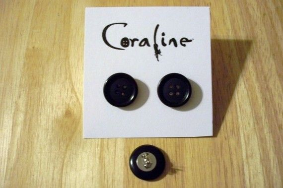 Coraline Button Earrings By Dragonflyazul On Etsy Coraline Coraline Jones Geek Jewelry