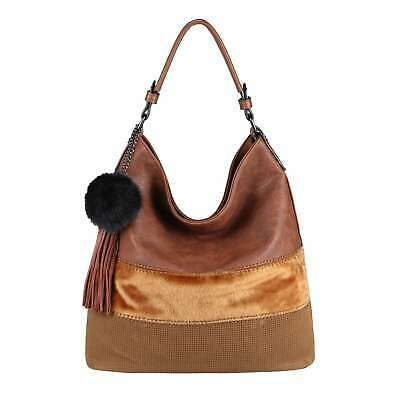 Photo of Details about LADIES BAG Hobo XL Shopper Pompom Shoulder Bag Leather Look Shoulder Bag