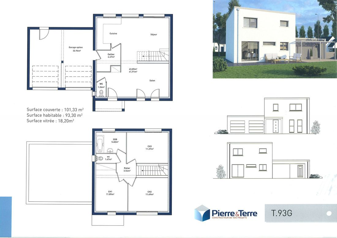 Plan maison etage garage for Plan maison etage 2 chambres
