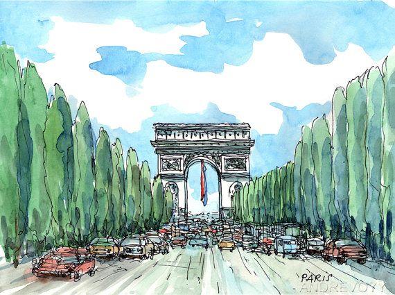 Paris Champs Elysees Art Imprime D Une Peinture A L Aquarelle