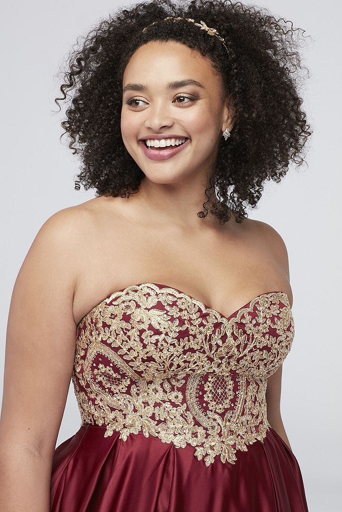 048fcd6f237 ... Prom Dress from David s Bridal. Gold Corded Lace Satin Plus Size Ball  Gown Style A19335DW