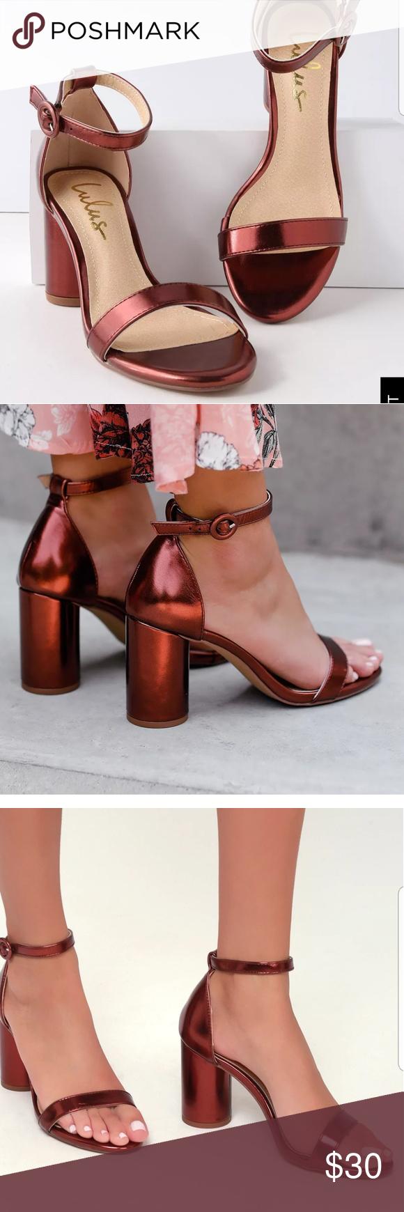 6ade7927d57 Lulu s copper block sandals Brand New