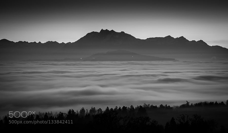 Pilatus - Pinned by Mak Khalaf Black and White  by michaelhediger