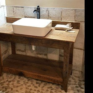 Nautical Whitewashed Barn Wood Vanity W Copper Vessel Sink Etsy Wood Vanity Barn Wood Copper Vessel Sinks