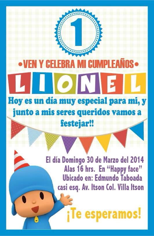 Invitation #pocoyo #party #kids #invitation