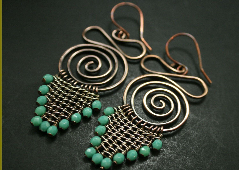 Mixed Metal Earrings, Turquoise Earrings, Chandelier Earrings, Wire Mixed  Metals Earrings, Turquoise Drop Earring, Turquoise Earrings (#988)