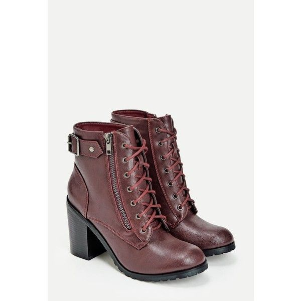 Justfab Booties Rosemarie ($40) ❤ liked on Polyvore featuring shoes, boots, ankle booties, red, red ankle booties, buckle booties, red high heel booties, high heel booties and high heel boots