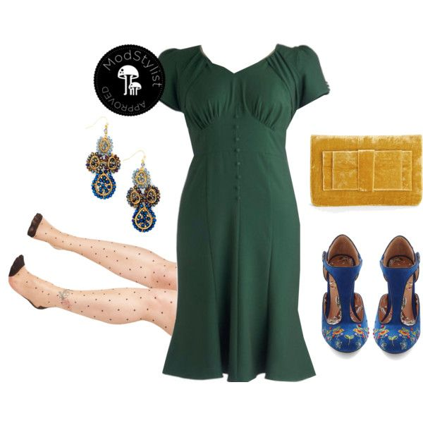 """Down to a Pine Art Dress in Plus Size"" by modcloth on Polyvore"