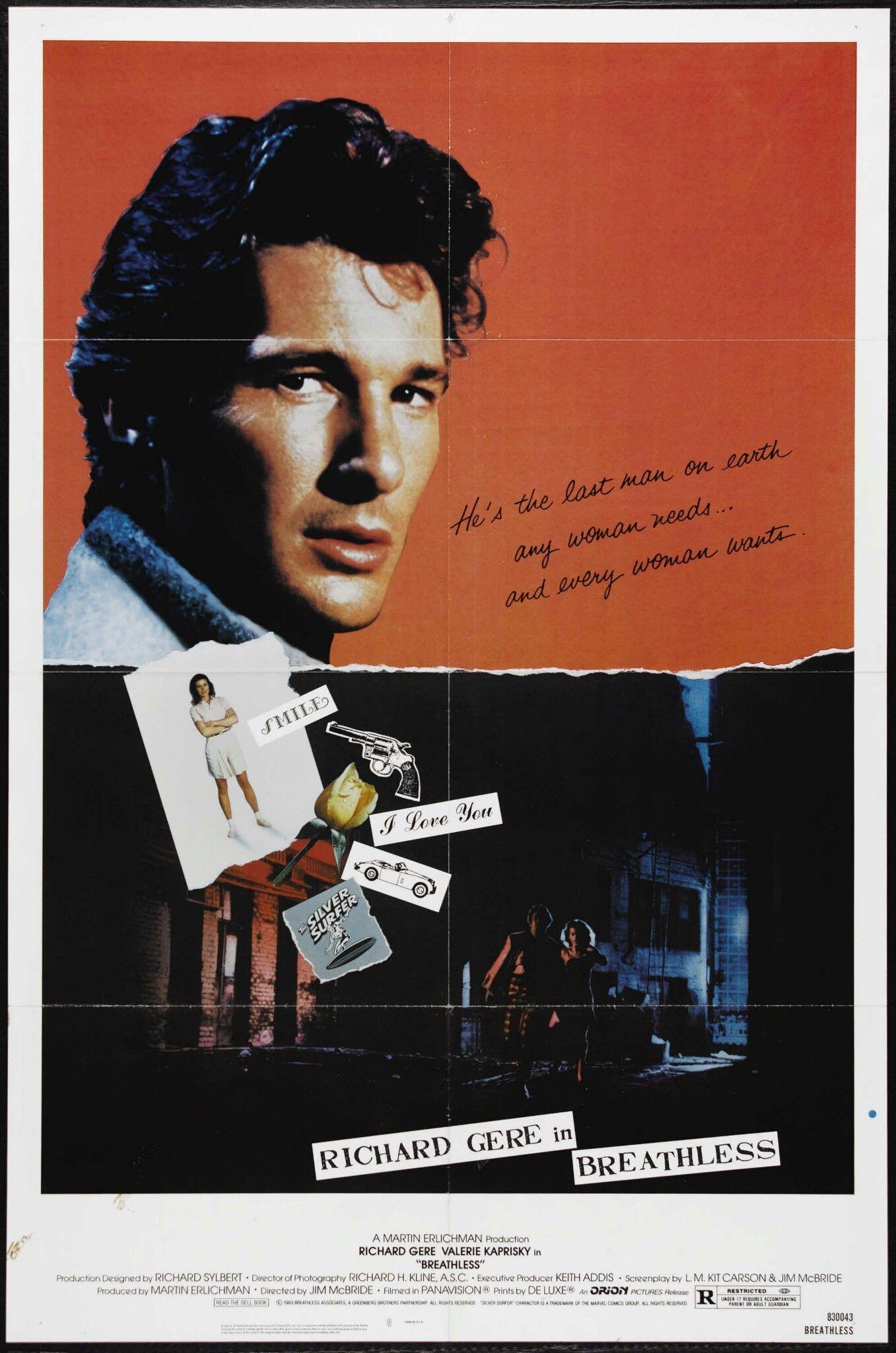 Breathless 1983 richard gere movie posters full
