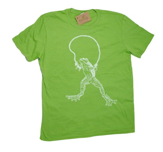 4287c56903d2cf Funny Tshirts for Men - Hand Printed - Short Sleeve - Green Tee - Frog  Jumping Rope