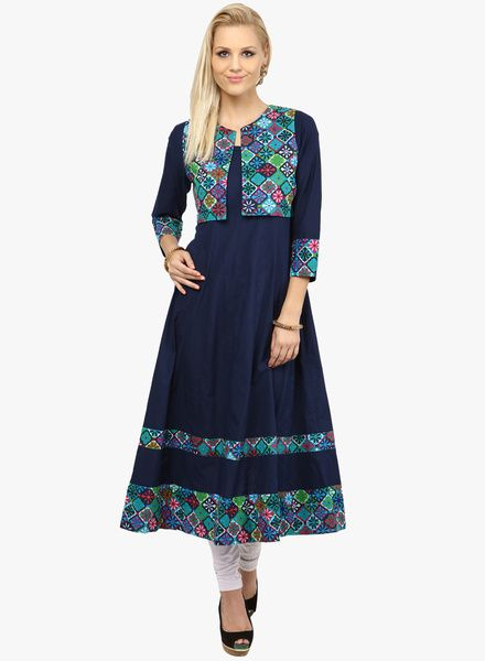 fe1efd75fd7 Buy Nayo Navy Blue Printed Anarkali With Jacket for Women Online India