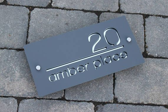 House Sign Door Number Plaque Landscape Rectangle Sign Etsy Door Number Plaques Home Signs Contemporary House Numbers