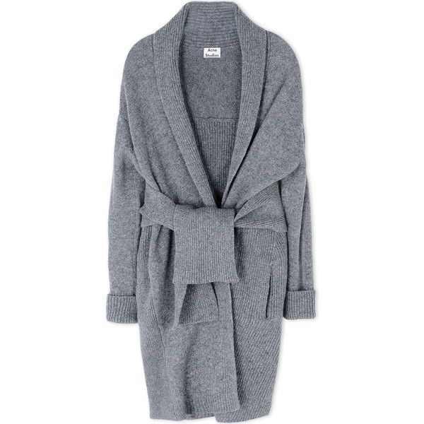 Acne Studios Cardigan (€510) ❤ liked on Polyvore featuring tops, cardigans, coats, grey, jackets, gray cardigan, grey top, grey wool cardigan, acne studios and one button cardigan