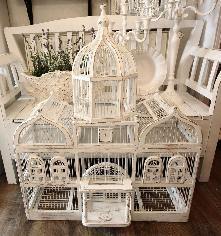 alter vogelk fig holz wei frankreich shabby vintage deko bird cage pinterest. Black Bedroom Furniture Sets. Home Design Ideas