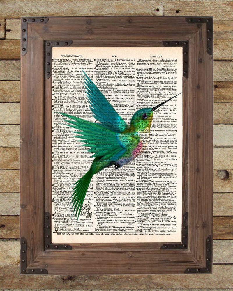 Hummingbird art print, bird art, childrens art, vintage dictionary ...