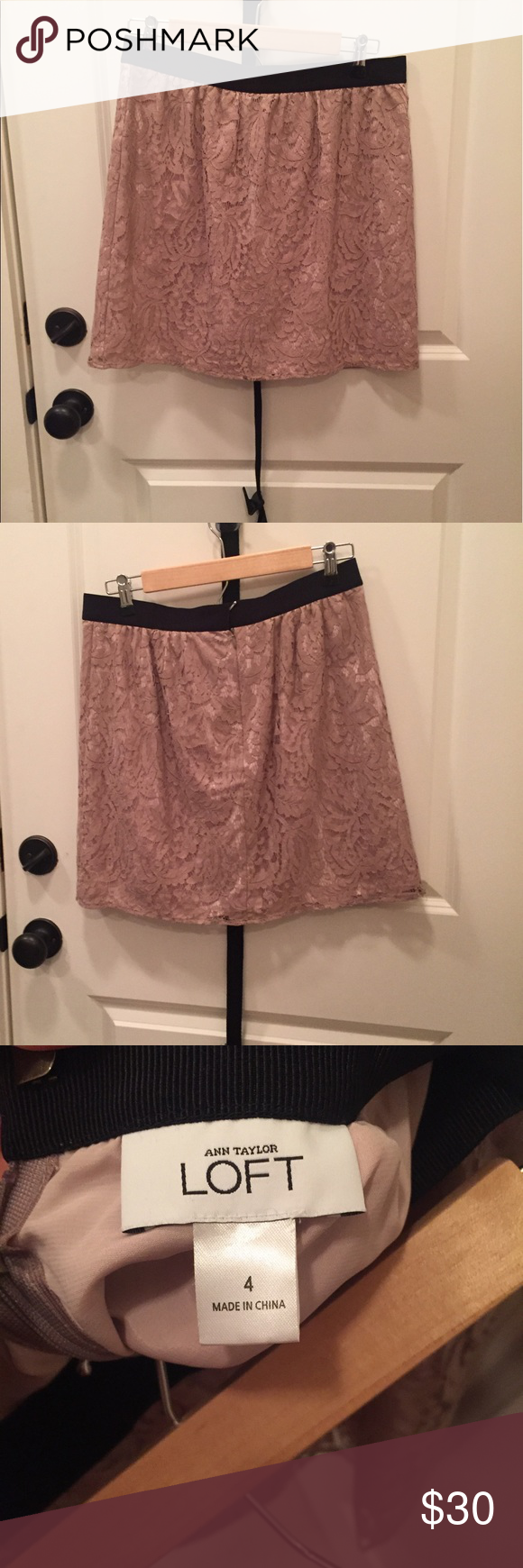 Ann Taylor Loft Skirt Blush Pink Ann Taylor Loft Skirt lace skirt, Size 4. Invisible zipper at center back. Above knee. Smoke free home. Ann Taylor Loft Skirts Mini