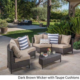 Newton Outdoor 5 Piece Dark Brown Wicker Lounge Set With Cushions