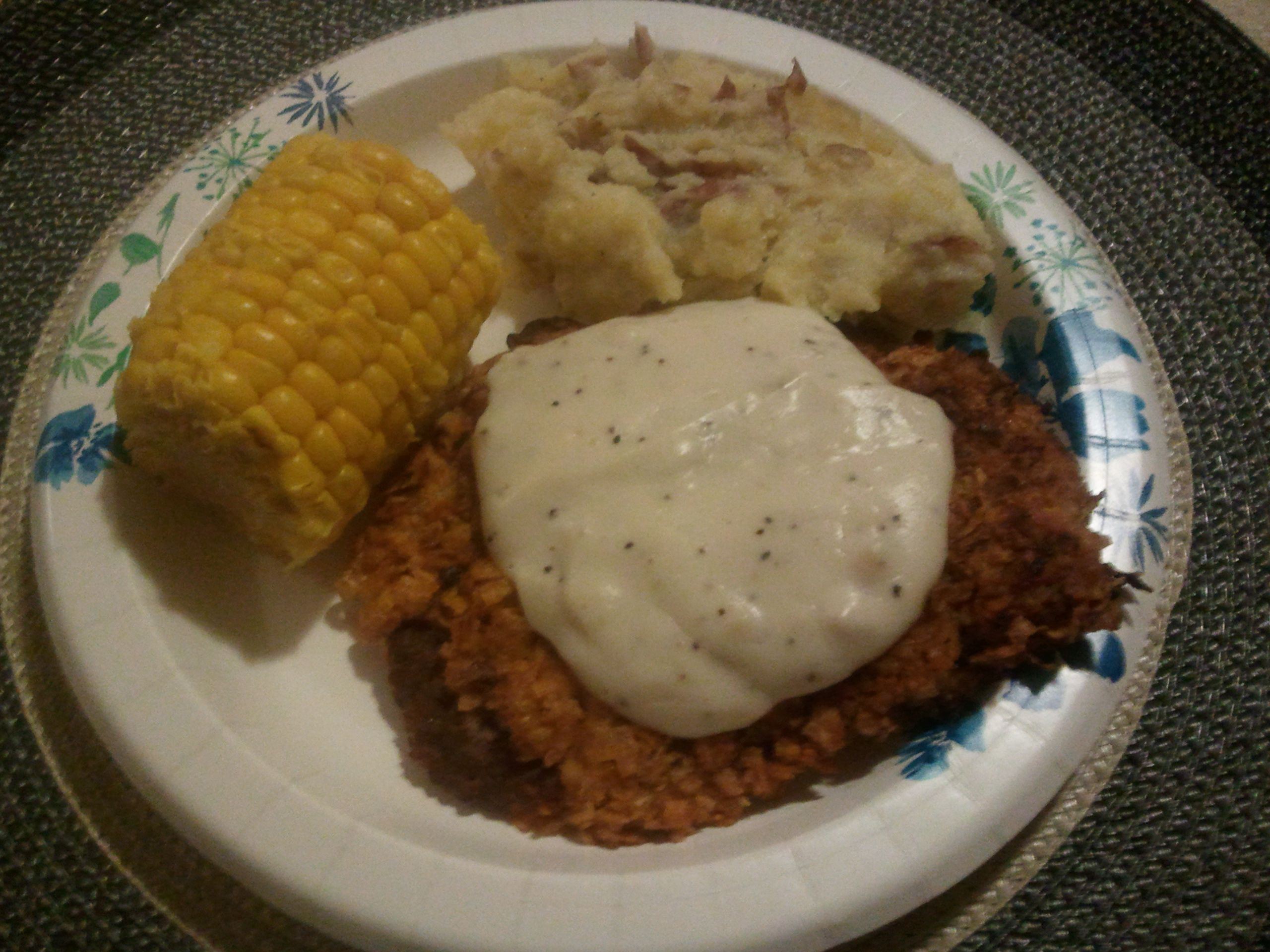 Heathier country fried steak with homemade mash potatoes