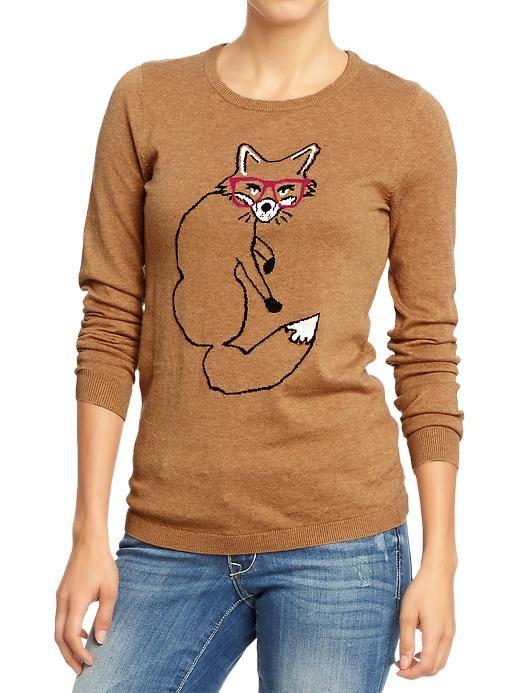 Foxy  Graphic Crew Neck Sweater