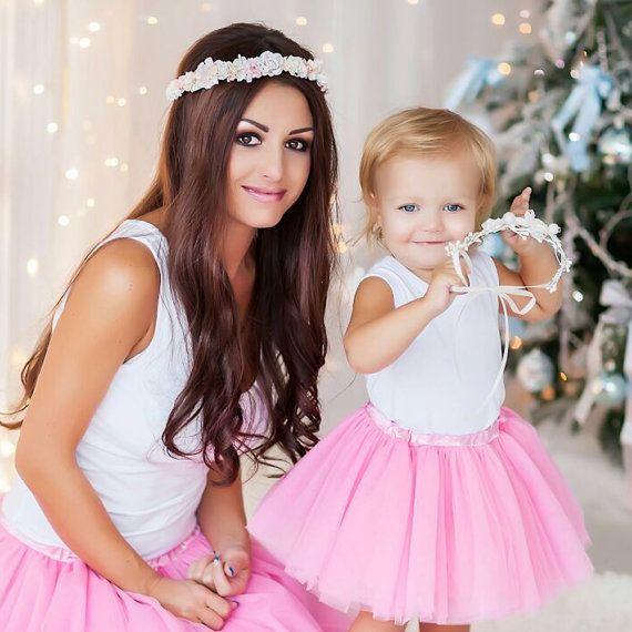 Bébé et la mère - SET 2 - rose argent bandeau-1er anniversaire fille Outfit-mère et le bébé exclusif-bébé fille rose tutu Set - serre-tête fleur